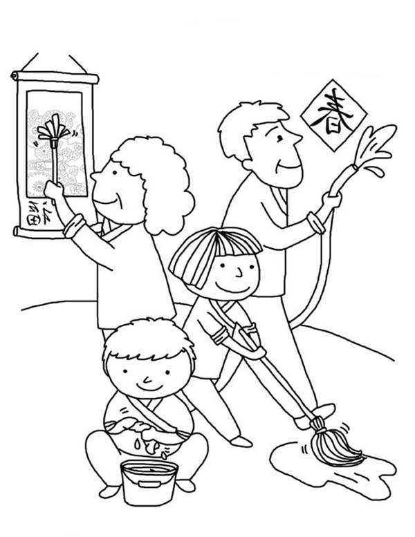 Desenho De Familia Limpando Casa Para Colorir