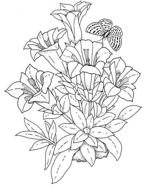 Desenho De Arranjo De Flores Para Colorir