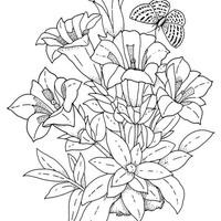 Desenho De Gato Segurando Arranjo De Flores Para Colorir
