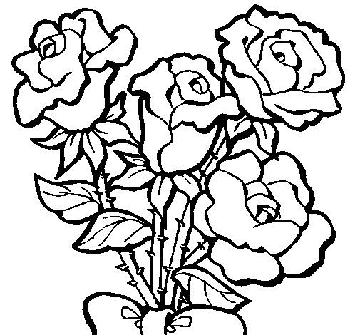 Desenho De Arranjo De Rosas Para Colorir Tudodesenhos