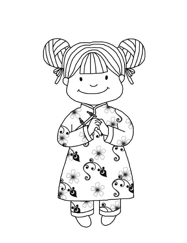 Desenho de Crian a chinesa para