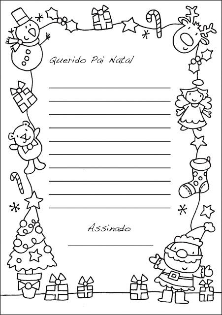 Desenho De Carta Ao Papai Noel No Natal Para Colorir