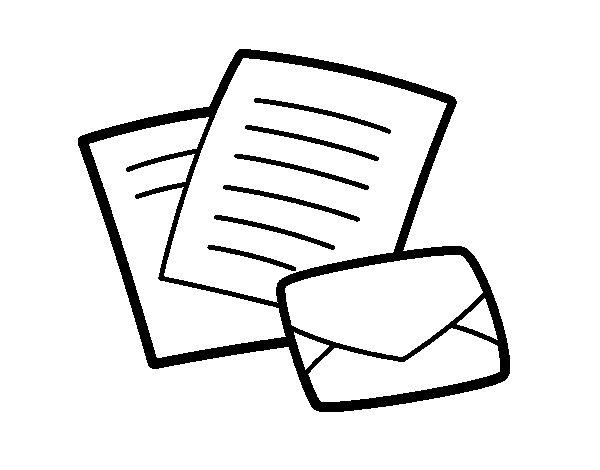 Desenho De Carta E Envelope Para Colorir Tudodesenhos