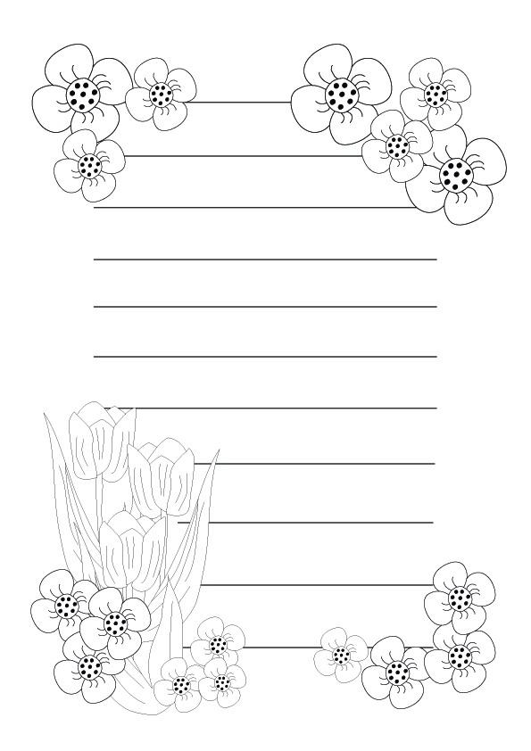Desenho De Papel De Carta Com Bonitas Flores Para Colorir