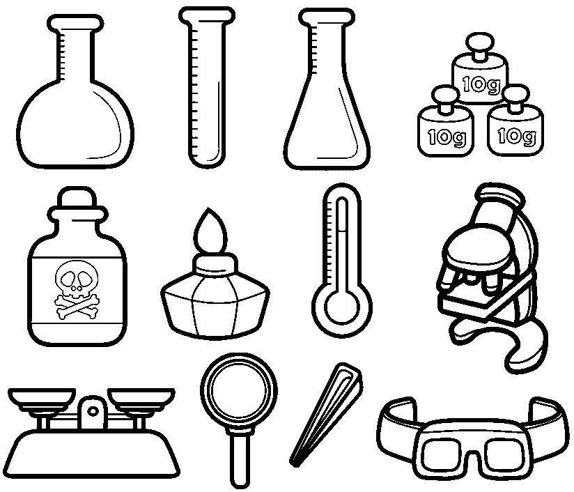 desenho de instrumentos de cientista para colorir tudodesenhos