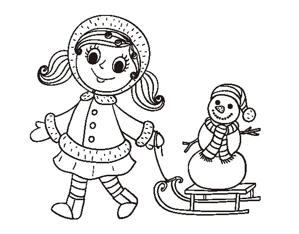 Desenho De Menina Empurrando Boneco De Neve No Treno Para Colorir