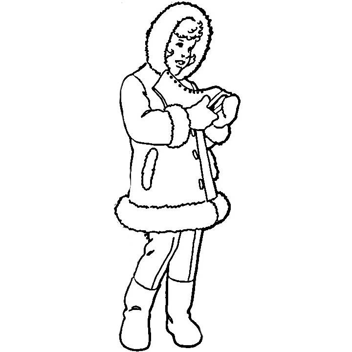 desenho de roupa de frio de mulher para colorir tudodesenhos