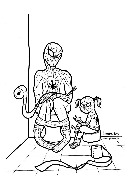 Desenho De Homem Aranha No Banheiro Para Colorir Tudodesenhos