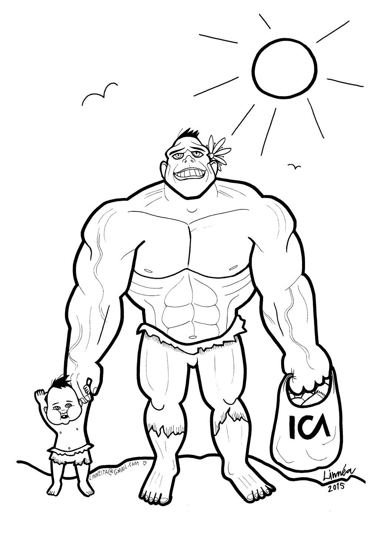 desenho de hulk carinhoso com o filho para colorir tudodesenhos