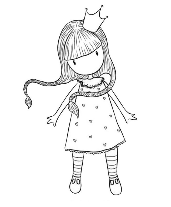desenho de boneca gorjuss princesa para colorir