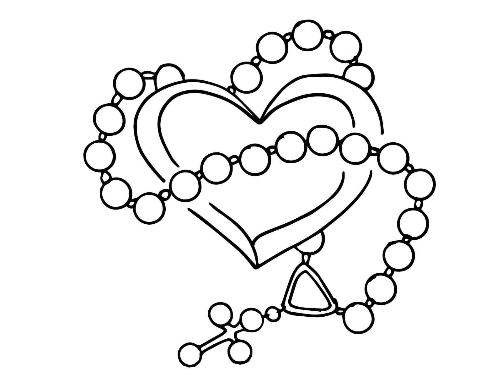 Desenho De Terço E Coração Para Colorir