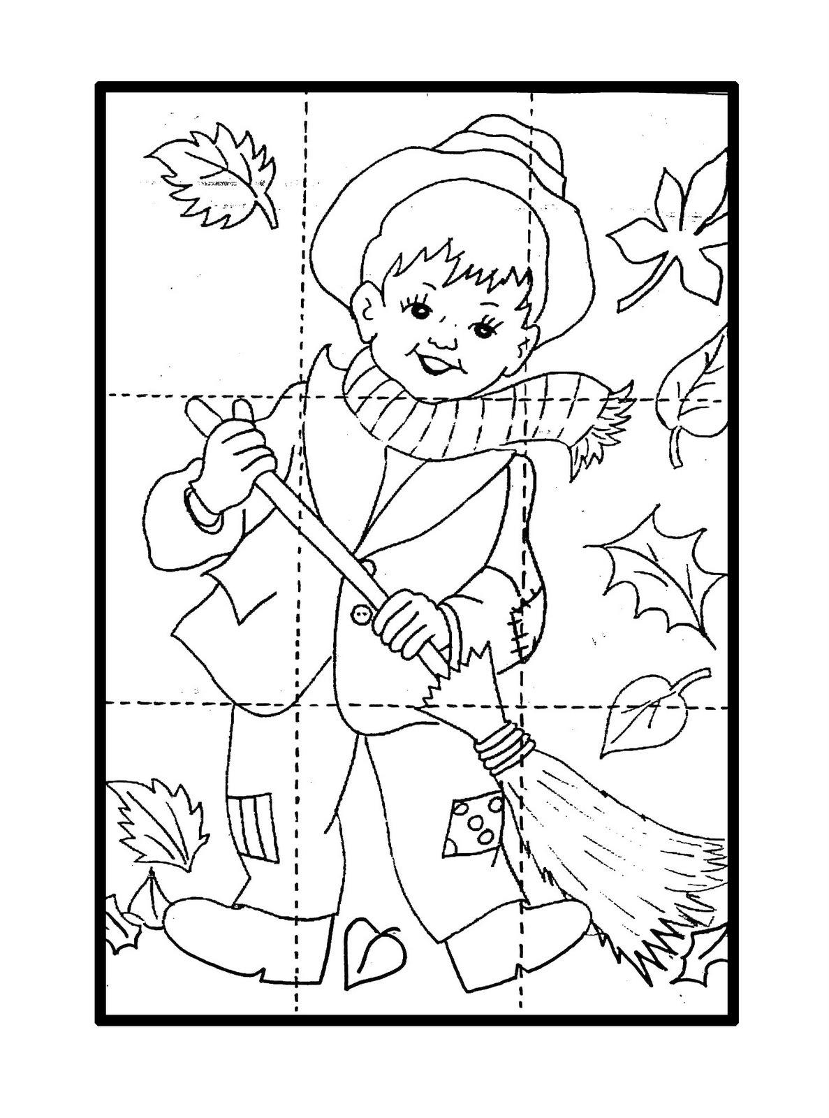 Desenho de Quebra-cabeça de outono para colorir - Tudodesenhos