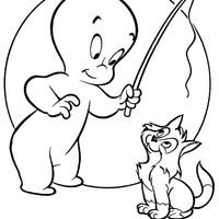 Desenho de gasparzinho e gatinho pescando para colorir for Casper the friendly ghost coloring pages