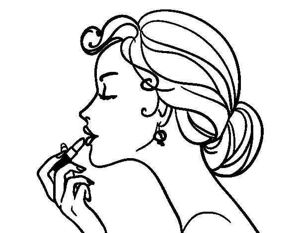 desenho de mulher passando batom na boca para colorir tudodesenhos