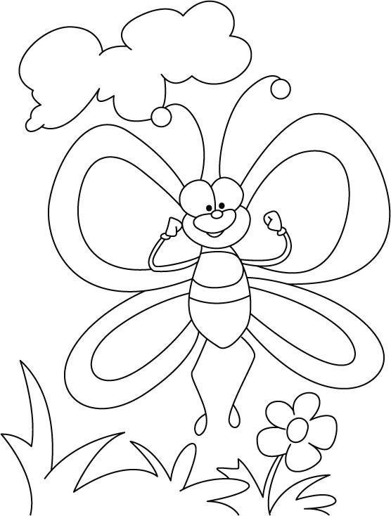 Desenho de Borboleta no jardim para colorir  Tudodesenhos