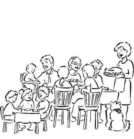 Desenho De Almoço Em Família Para Colorir Tudodesenhos