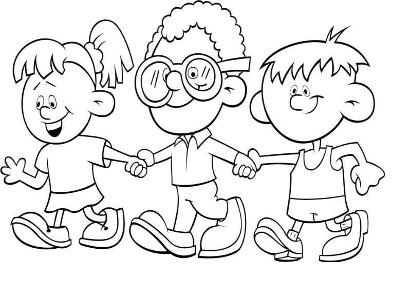 Desenho De Amigos Passeando De Mãos Dadas Para Colorir
