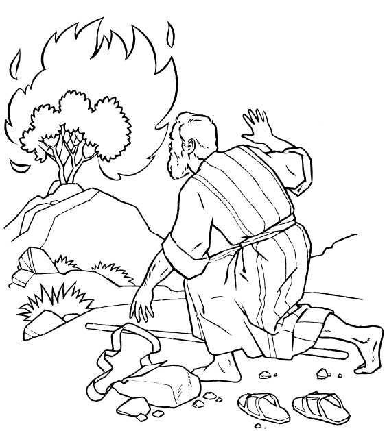 Desenho De Moises E O Arbusto Em Chamas Para Colorir Tudodesenhos
