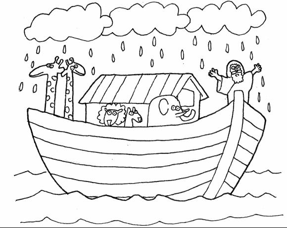 Arca De Nóe Para Colorir: Desenho De Arca De Noé No Mar Para Colorir