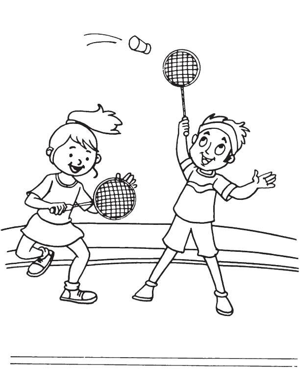 Desenho de crian as jogando badminton para colorir for Badminton coloring pages