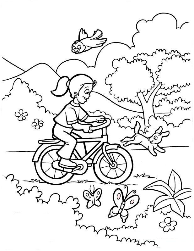 Desenho De Menina Andando De Bicicleta No Parque Para Colorir