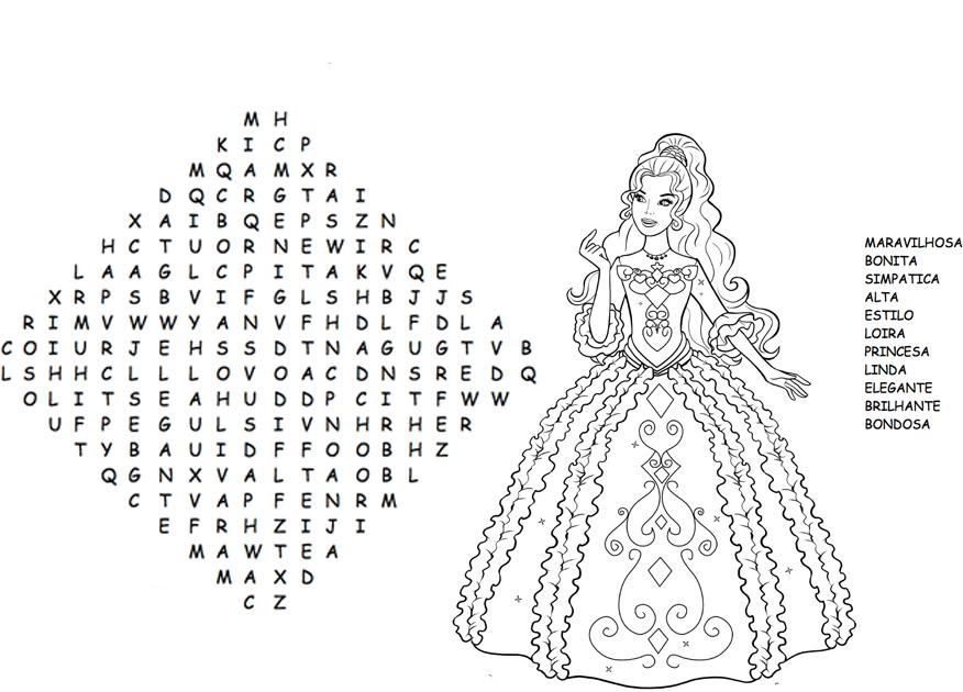 Desenho De Caça-palavras Da Barbie Para Colorir
