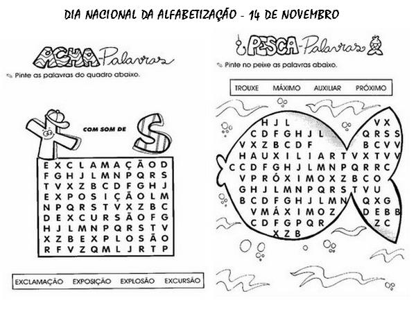 Palavra Do Dia: Desenho De Caça-palavras Do Dia Da Alfabetização Para