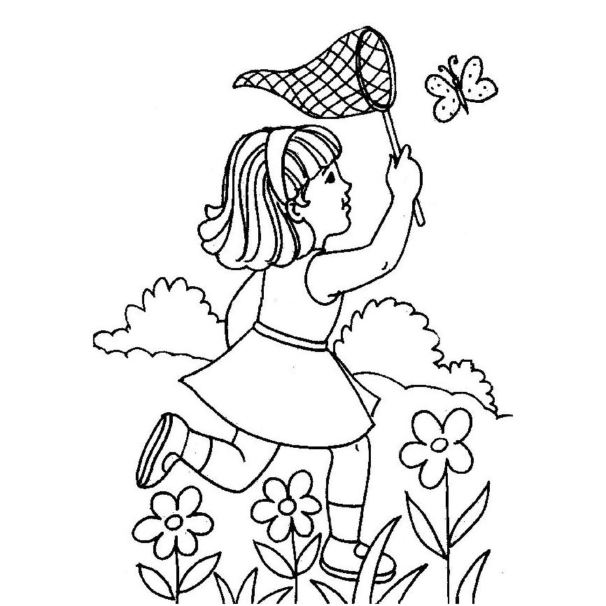 Desenho De Menina Capturando Borboleta Para Colorir