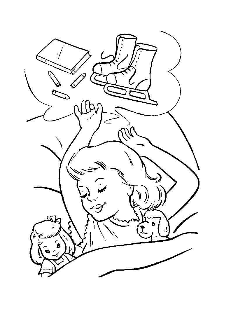 Desenho De Menina Sonhando Com Patins E Escola Para
