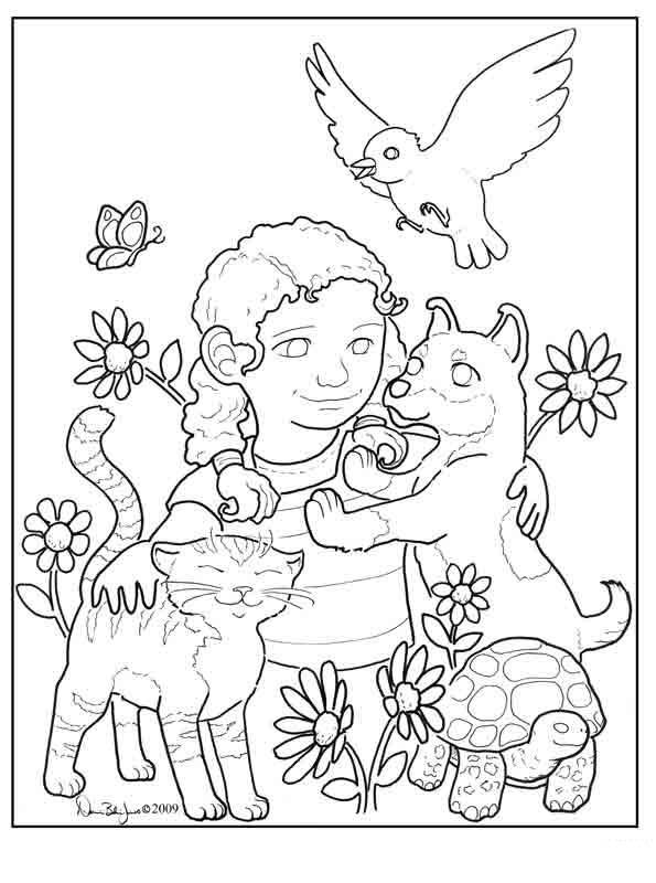 Desenho de Garota carinhosa