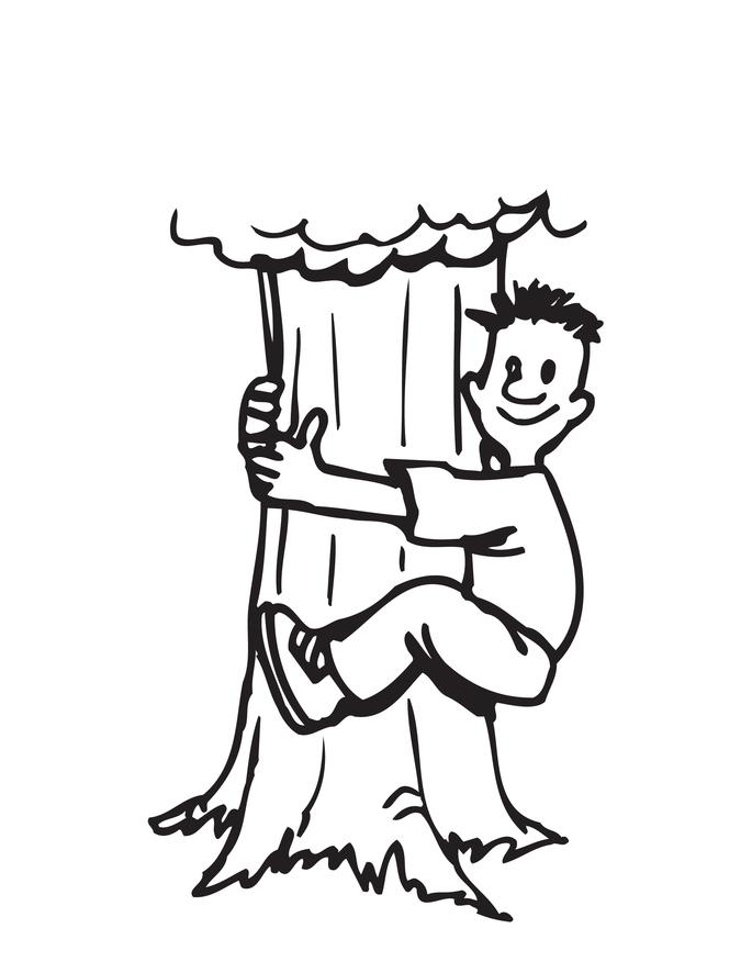 Desenho De Abraço De Homem à árvore Para Colorir Tudodesenhos