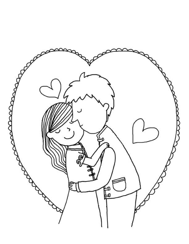Desenho De Casal Apaixonado Se Beijando Para Colorir Tudodesenhos