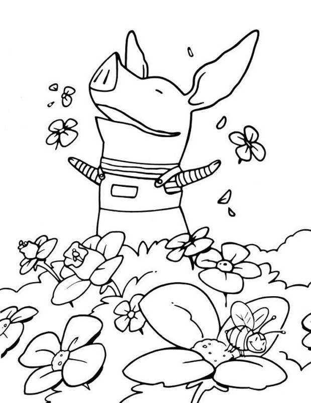 Desenho De Pig Olivia No Jardim Para Colorir Tudodesenhos