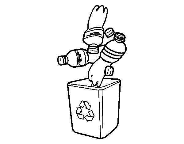 desenho de lixo reciclado para plásticos para colorir tudodesenhos