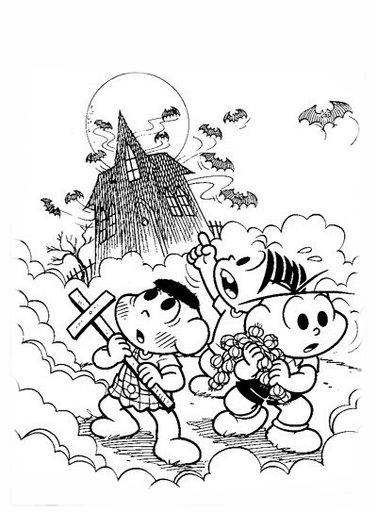 Desenho De Turma Da Monica No Dia Das Bruxas Para Colorir