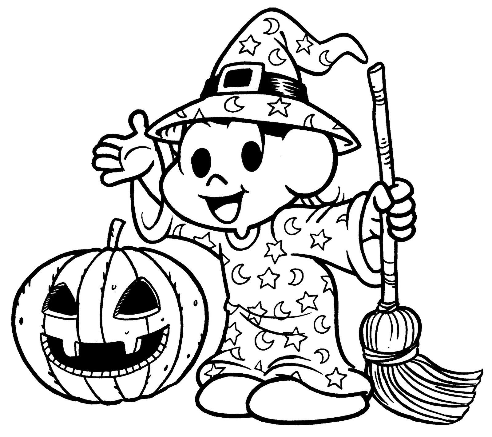 desenho de monica bruxinha no halloweenpara colorir tudodesenhos
