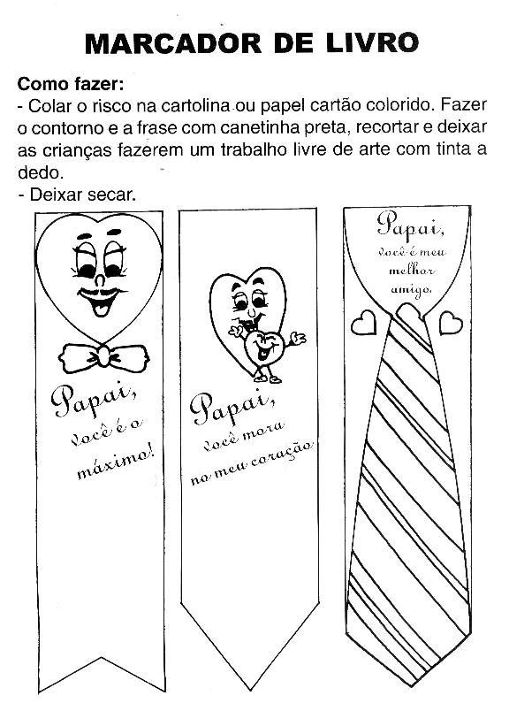 Desenho De Marcador De Livros Dia Dos Pais Para Colorir