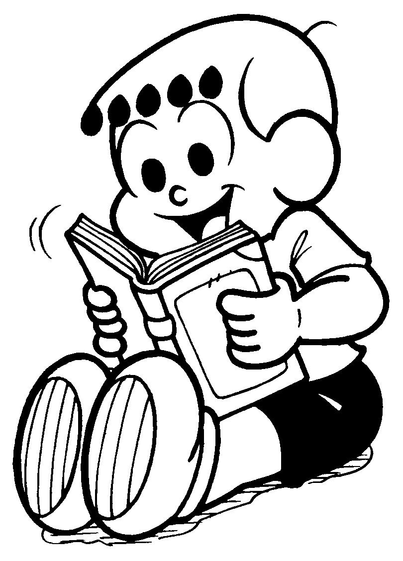 desenho de franjinha lendo livro para colorir tudodesenhos