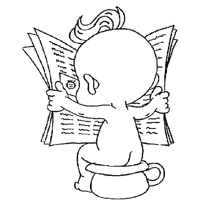 Desenho De Beb 234 Lendo Sentado No Piniquinho Para Colorir