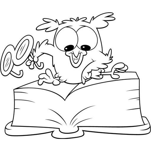 desenho de corujinha lendo livro para colorir tudodesenhos