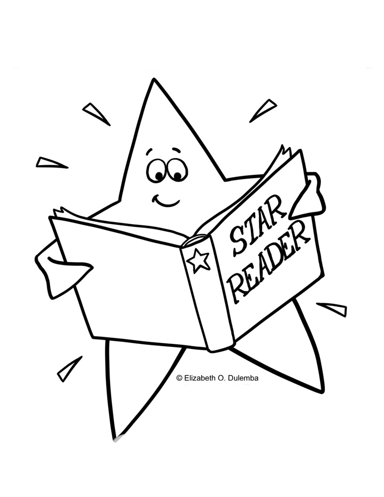 desenho de estrela lendo livros para colorir tudodesenhos