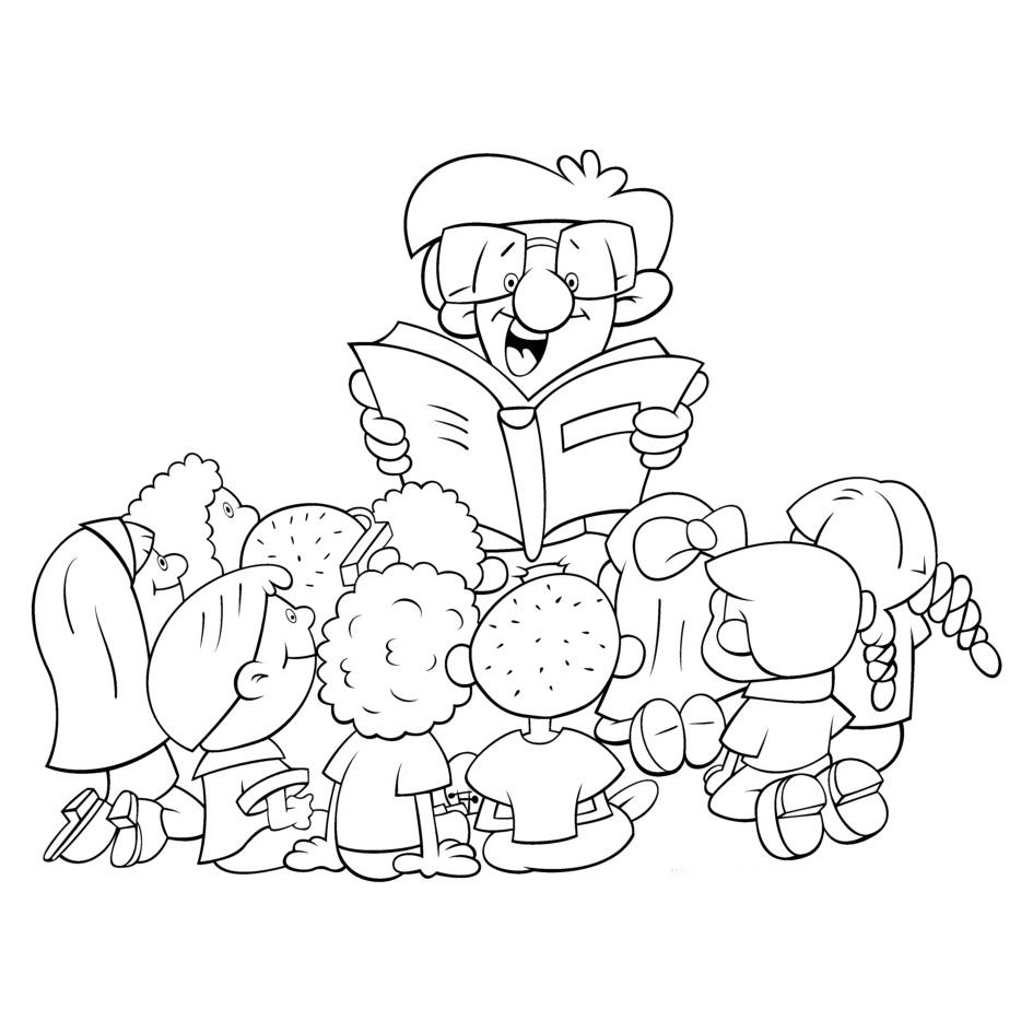 desenho de contador de histórias para colorir tudodesenhos