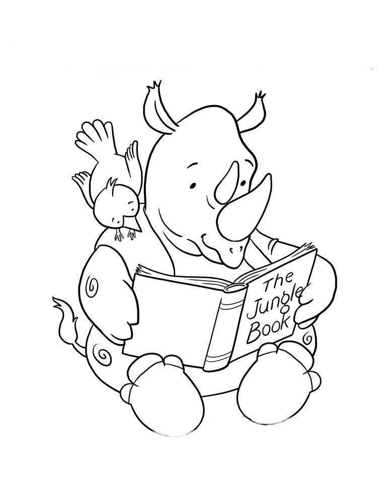 desenho de hipopótamo lendo livro para colorir tudodesenhos