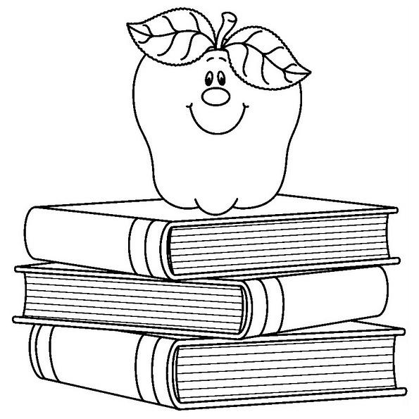 Desenho De Livros E Macas Para Colorir Tudodesenhos
