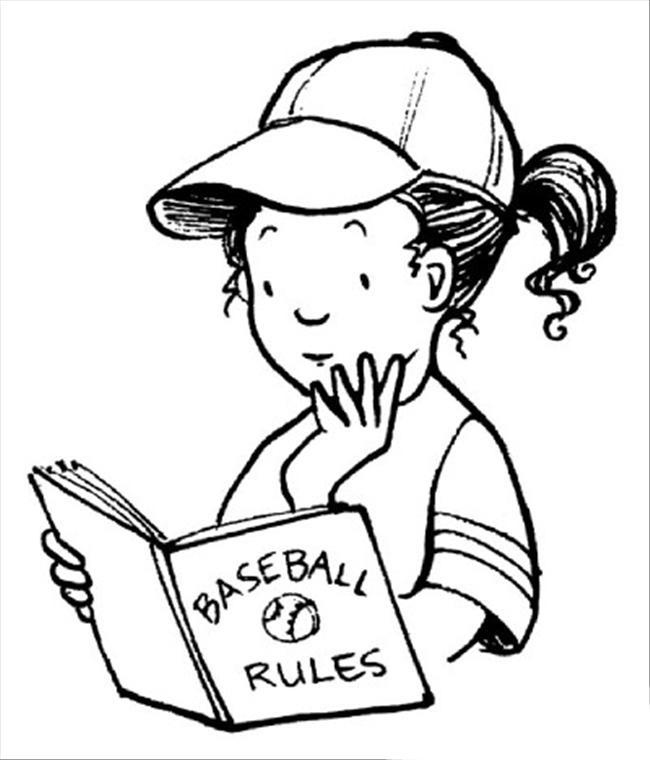 Desenho De Menina Estudando Regras Do Basebol Para Colorir