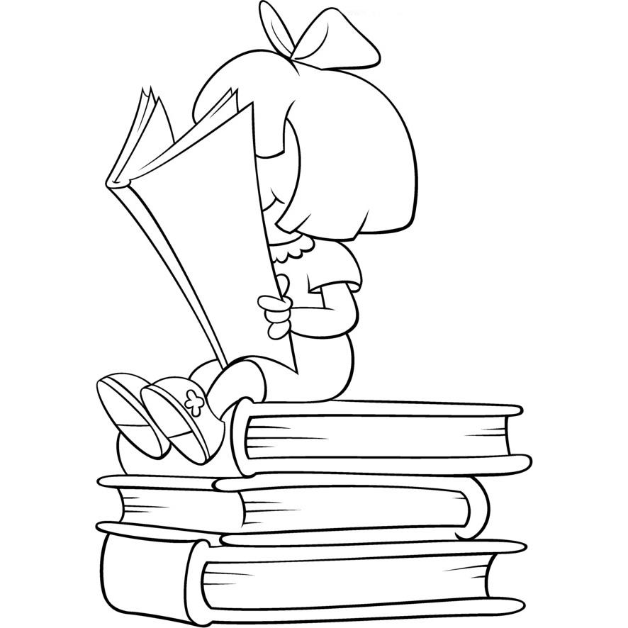 Desenho De Menina Sentada Sobre Livros Para Colorir Tudodesenhos