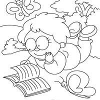 Desenho De Menino Lendo Revistinha Para Colorir Tudodesenhos
