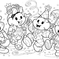Desenho De Monica E Cebolinha Pulando Carnaval Para Colorir