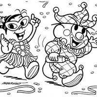 Desenho De Turma Da Monica Pulando Carnaval Para Colorir