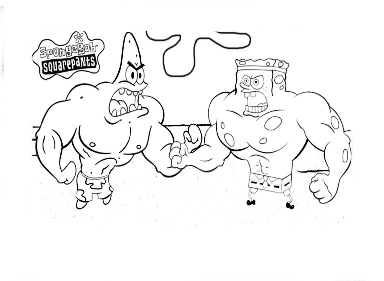 Desenho De Bob Esponja Musculoso Para Colorir